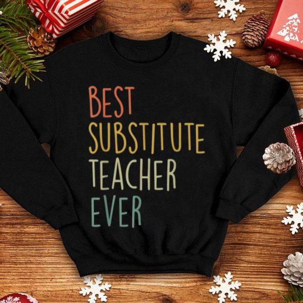 Top Best Substitute Teacher Ever Cool Vintage Christmas Gift shirt