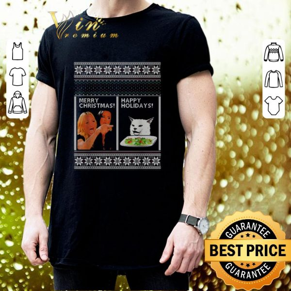 Awesome Woman yelling at cat happy holiday ugly Merry Christmas sweater