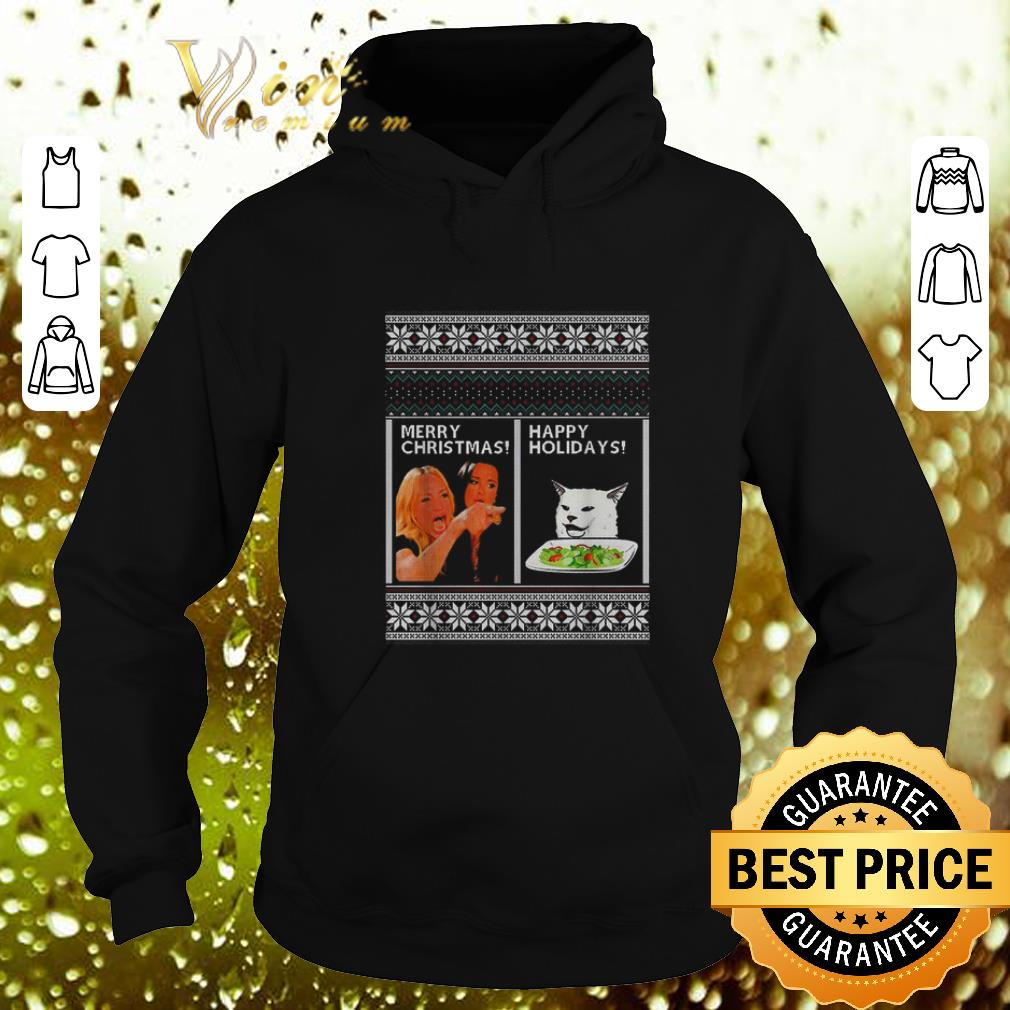 Awesome Woman yelling at cat happy holiday ugly Merry Christmas sweater 4 - Awesome Woman yelling at cat happy holiday ugly Merry Christmas sweater