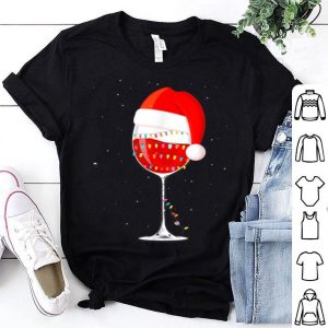 Premium Christmas Light Wine Glass Of Red Wine Santa Hat sweater