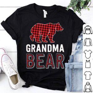 Pretty Grandma Bear Red Buffalo Plaid Matching Family Christmas sweater