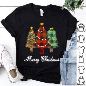 Pretty Xmas Holiday Merry Christmas Tree Leopard Plaid Print sweater