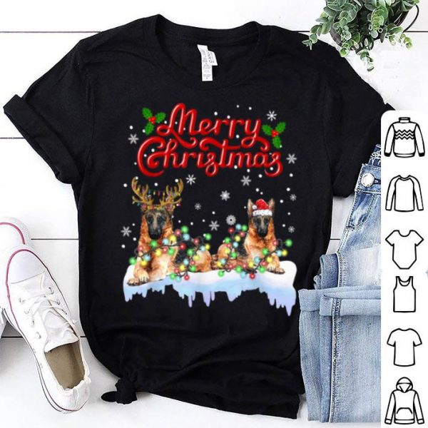 Top German Shepherd Christmas Lights Funny Dog Matching Family sweater