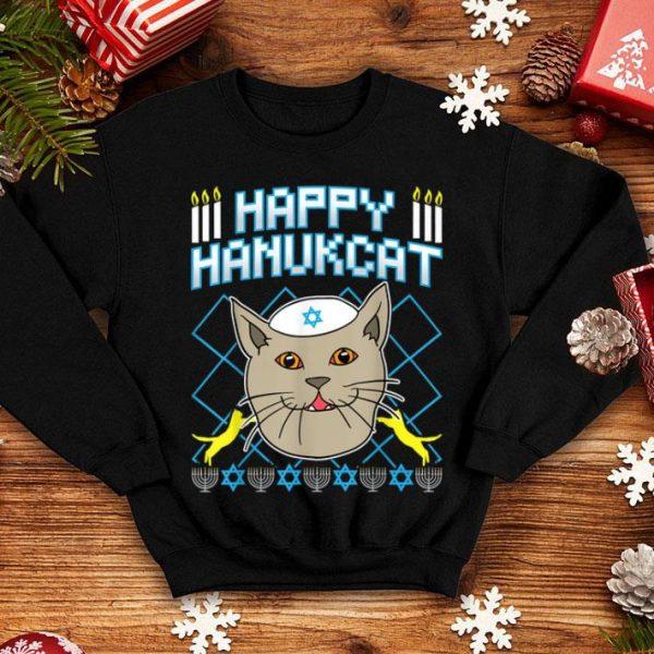 Top Happy Hanukcat Jewish Cat Ugly Christmas sweater