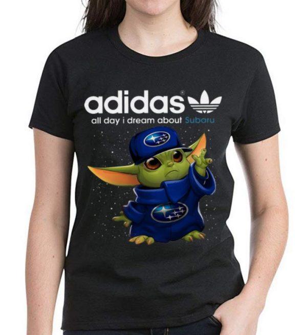 Awesome Baby Yoda Adidas All Day I Dream About Subaru shirt