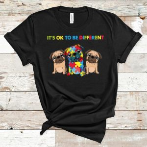 Awesome Pug It's Ok To Be Different Autism Awareness shirt