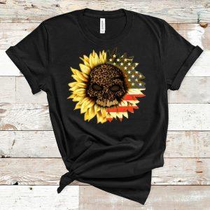 Original American Flag Leopard Print Skull In Sunflower shirt