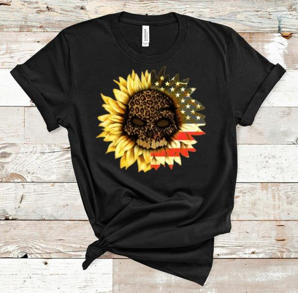 Original American Flag Leopard Print Skull In Sunflower shirt
