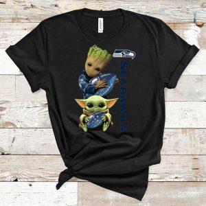 Premium Baby Groot And Baby Yoda Hug Seattle Seahawks shirt