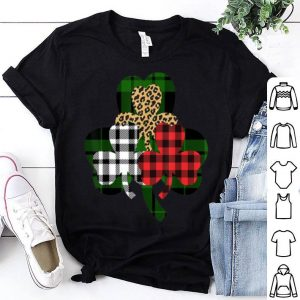 Premium Buffalo Plaid St Patricks Day Womens Leopard Shamrock shirt