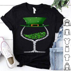 Top St Patrick's Day Shamrock Wine Glass For Women Men shirt