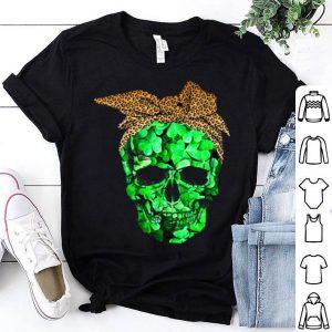 Top Sugar Skull Shamrock With Leopard Turban St Patrick Day shirt