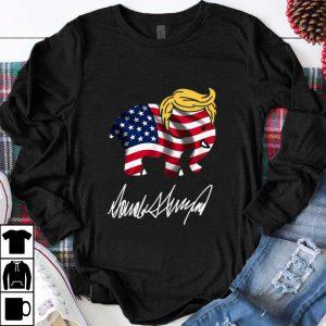Awesome Donald Trump Elephant American Flag Signature shirt