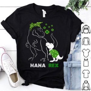 Awesome Nanasaurus Rex Irish Shamrock Dinosaur Family Mother's Day shirt