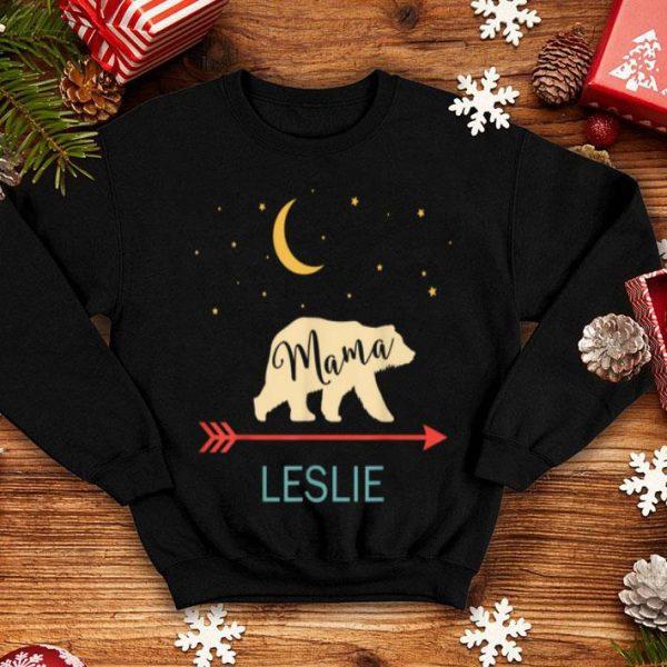 Nice Leslie Name Gift Personalized Retro Mama Bear shirt