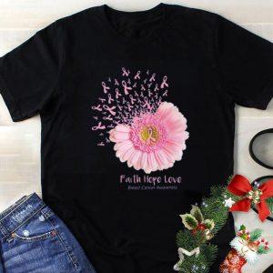Premium Flower Faith Hope Love Breast Cancer Awareness shirt