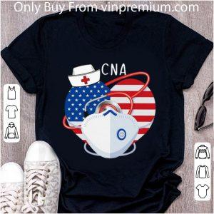 Hot CNA American Flag Nurse Heart Mask Stethoscope shirt