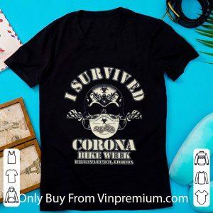 Official Skull I Survived Corona Bike Week Daytona Beach Florida shirt