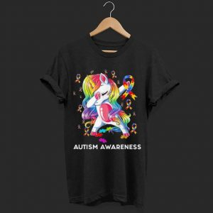 Dabbing Unicorn Puzzle Ribbon Autism awareness shirt