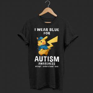 Pikachu wear blue for Autism awareness accept understand love shirt