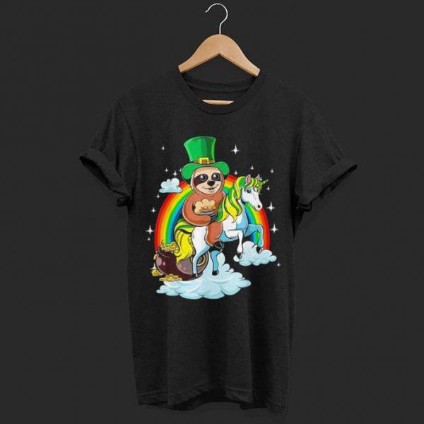 St Patricks Day Sloth on a Unicorn shirt