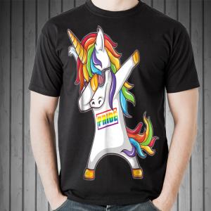Pride LGBT Gay Be Lesbian Unicorn Dabbing shirt