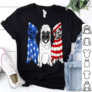 3 Pug American Flag 4th of July Dog Lover shirt