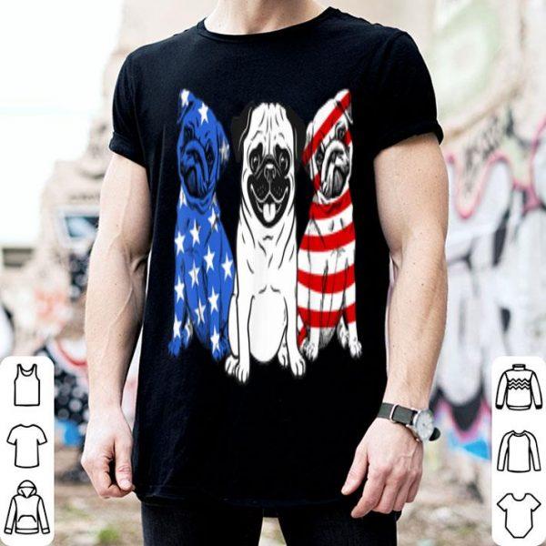 3 Pug American Flag 4th of July Dog Lover shirt