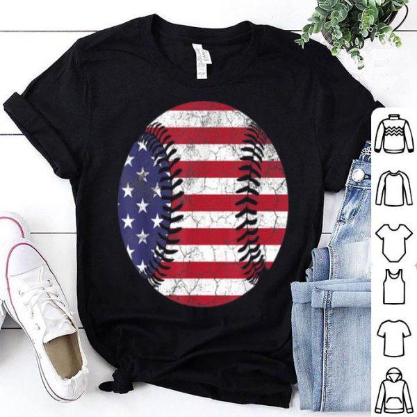 4th Of July Baseball Vintage Retro American Flag shirt