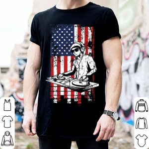 4th of July American Flag DJ Music Lover Turntable shirt
