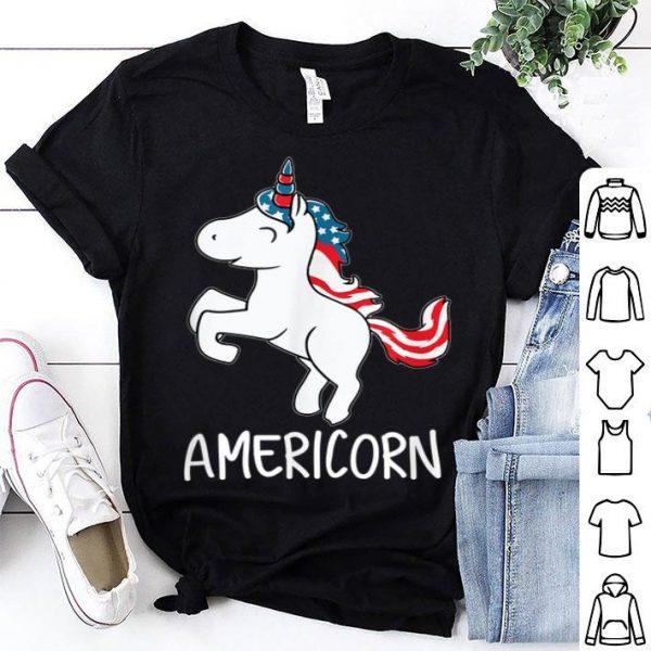 Americorn 4th Of July Unicorn American Flag shirt