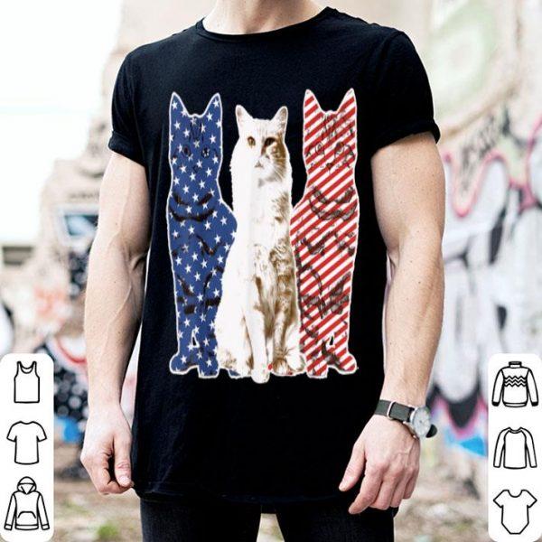 Cat Red White Blue American Flag Patriotic shirt