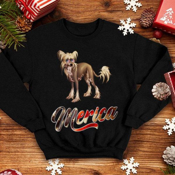 Chinese Crested Breed Dog America Flag Patriot shirt