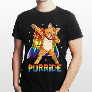 Dabbing Purride Cat Gay Pride Lgbt Rainbow Flag Dab shirt