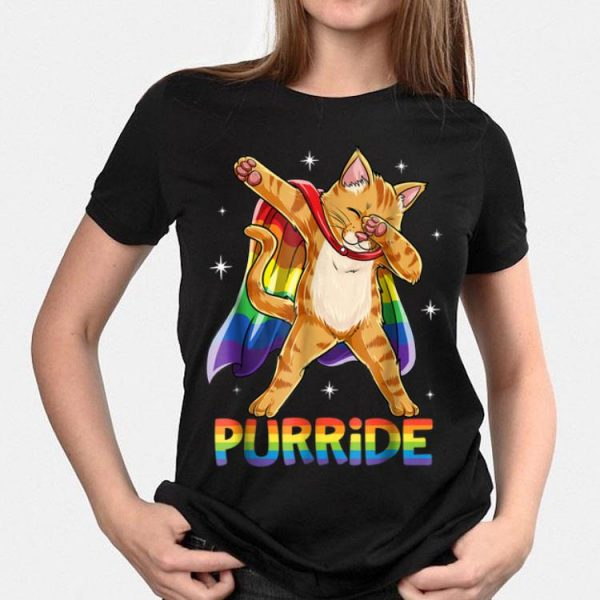 Dabbing Purride Cat Gay Pride Lgbt Rainbow Flag Dab shirt