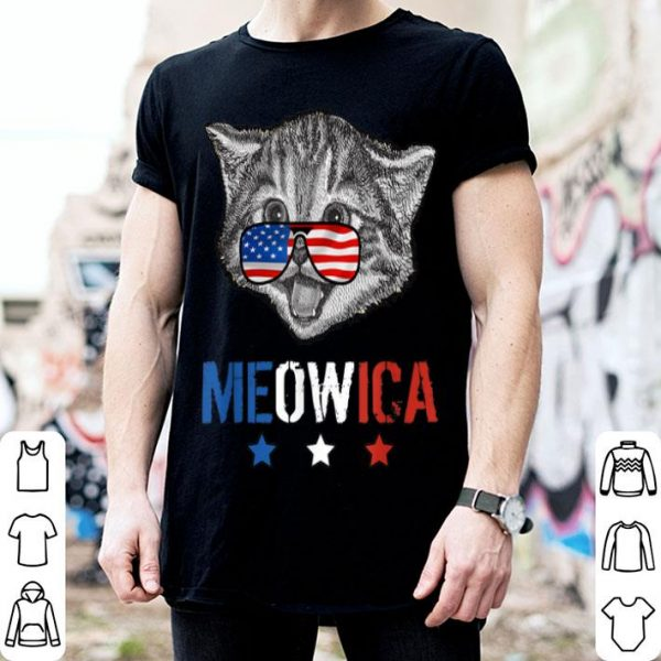 Meowica 4th Of July Cat American Flag shirt
