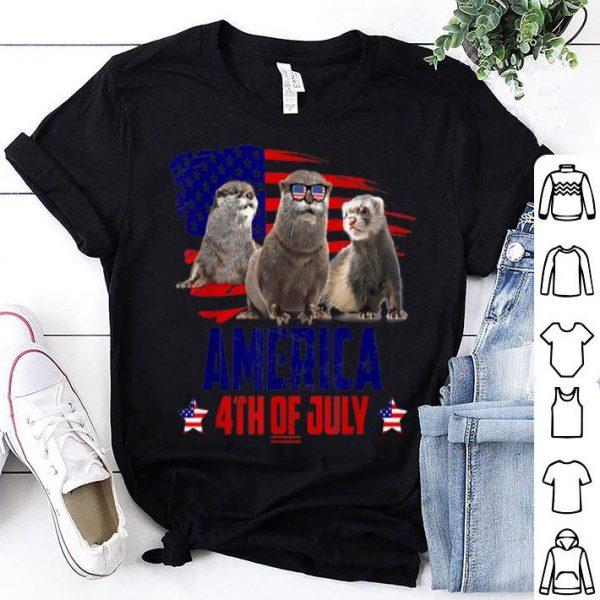 Otter Patriotic American America 4th Of July American Flag shirt
