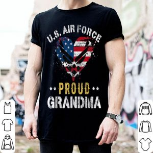 Proud Air Force Grandma American Flag Heart Veteran shirt