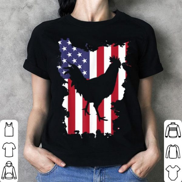 Rooster 4th Of July USA Flag Chicken Farm shirt