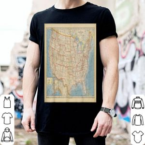 Vintage Map Of America Geography Tee shirt
