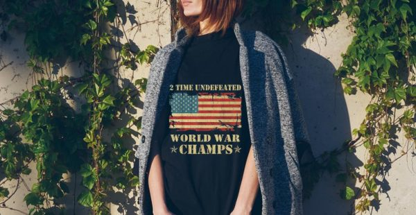 2 Time Undefeated World War Champs Ameican Flag tank top