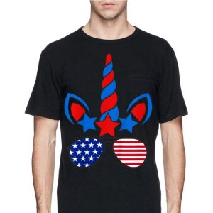 4Th Of July Unicorn Face Sunglasses American Flag shirt