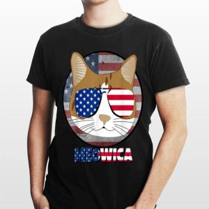 4th of july Cat MEOWICA American Flag USA shirt