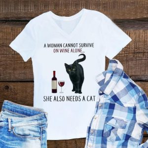 A Woman Cannot Survive On Wine Alone She Also Need A Cat hoodie