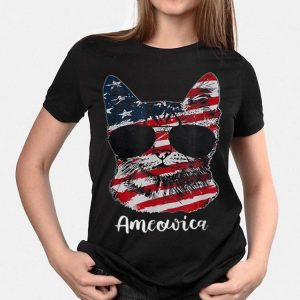 Ameowica Meow Cat American Flag 4th of July Patriotic shirt