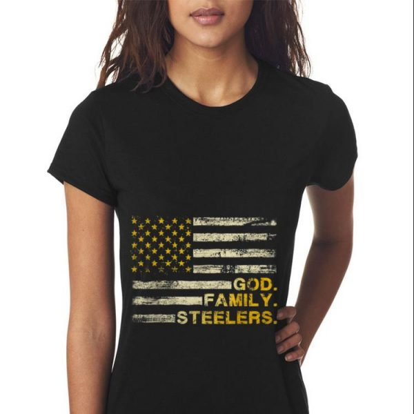 God Family Steelers Pro American Flag sweater