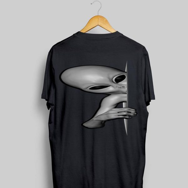 Grey Alien Peaking Zeta Reticuli Area 51 UFO Abduction shirt