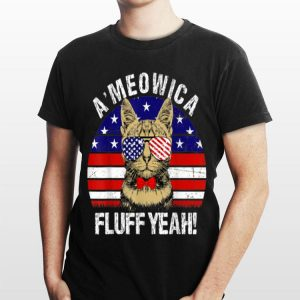 Meowica Fluff Yeah 4th of July American Flag merica cat shirt