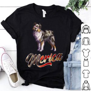 Miniature Australian Shepherd Breed Dog America Flag shirt
