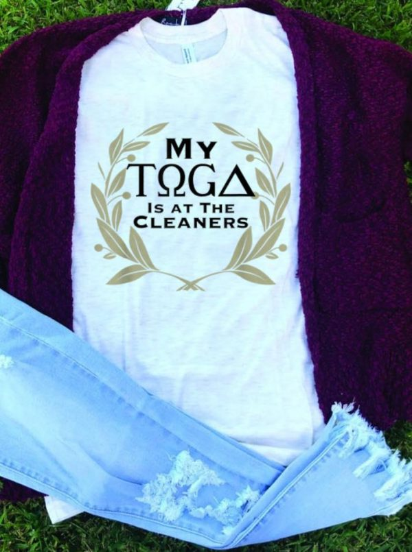 My Toga Is At The Cleaners guy tee